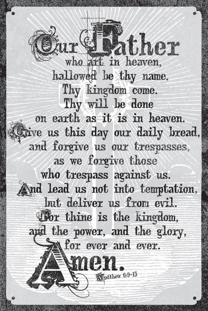 Clean image inside the lord's prayer kjv printable